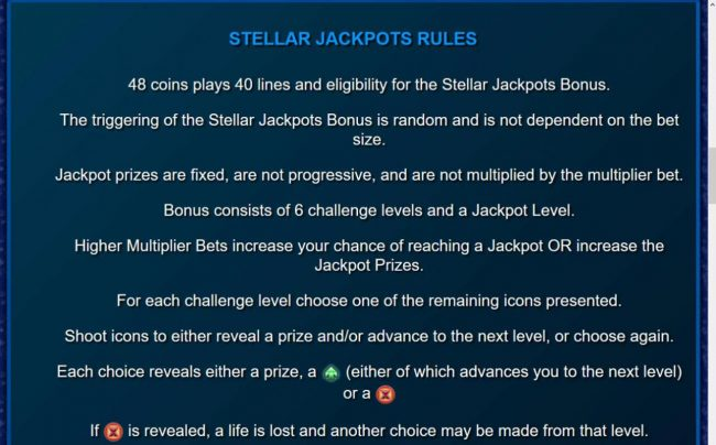Stellar Jackpots with Dolphin Gold :: Stellar Jackpot Rules