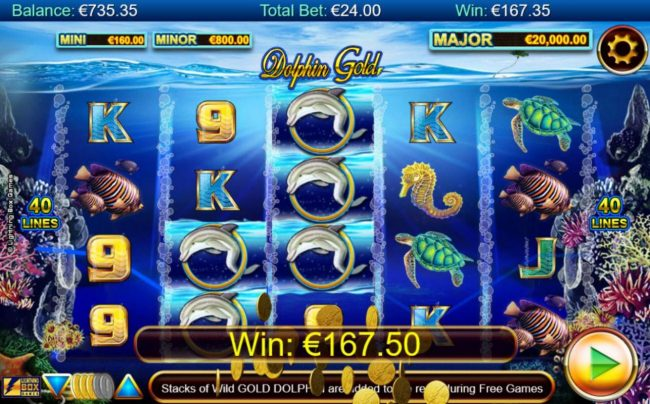 Stellar Jackpots with Dolphin Gold :: Dolphin wild symbols triggers multiple winning paylines leading to a 157.50 payout.