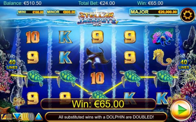 Money Reels featuring the Video Slots Stellar Jackpots with Dolphin Gold with a maximum payout of Jackpot