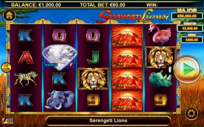 Wintingo featuring the Video Slots Stellar Jackpots with Serengeti Lions with a maximum payout of Jackpot