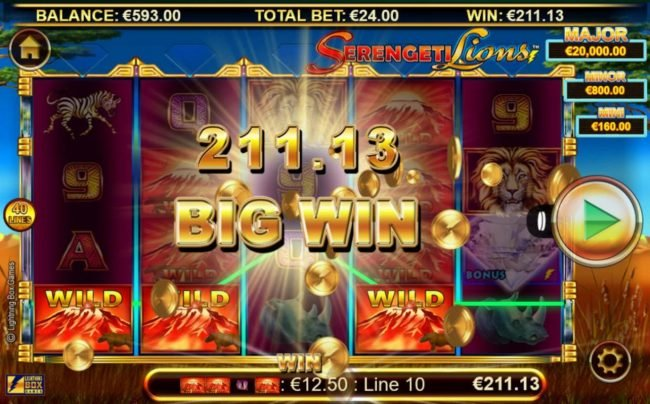 Slots Magic featuring the Video Slots Stellar Jackpots with Serengeti Lions with a maximum payout of Jackpot