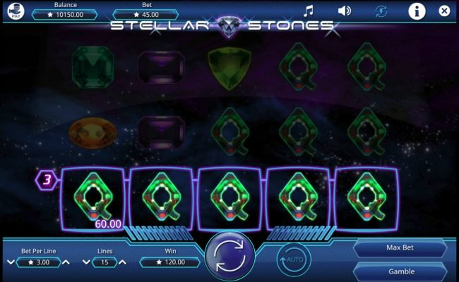Casino Dingo featuring the Video Slots Stellar Stones with a maximum payout of $15,000