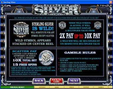 Next Casino featuring the Video Slots Sterling Silver with a maximum payout of $200,000