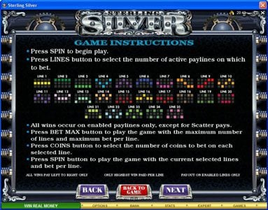 Play slots at Ruby Fortune: Ruby Fortune featuring the Video Slots Sterling Silver with a maximum payout of $200,000