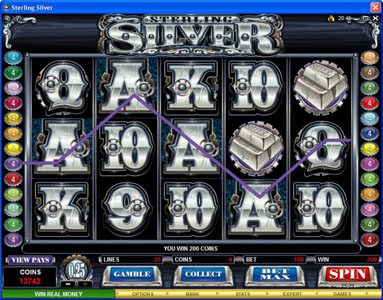 Slots Magic featuring the Video Slots Sterling Silver with a maximum payout of $200,000