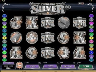 CasinoUK featuring the Video Slots Sterling Silver 3D with a maximum payout of $12,500