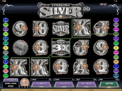 Music Hall featuring the Video Slots Sterling Silver 3D with a maximum payout of $12,500