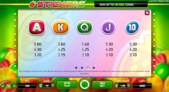 Play slots at CKcasino: CKcasino featuring the Video Slots Stickers with a maximum payout of $80,000