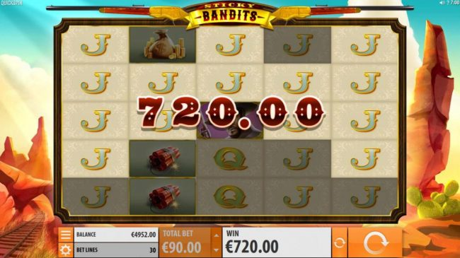 Triple Aces featuring the Video Slots Sticky Bandits with a maximum payout of $54,000