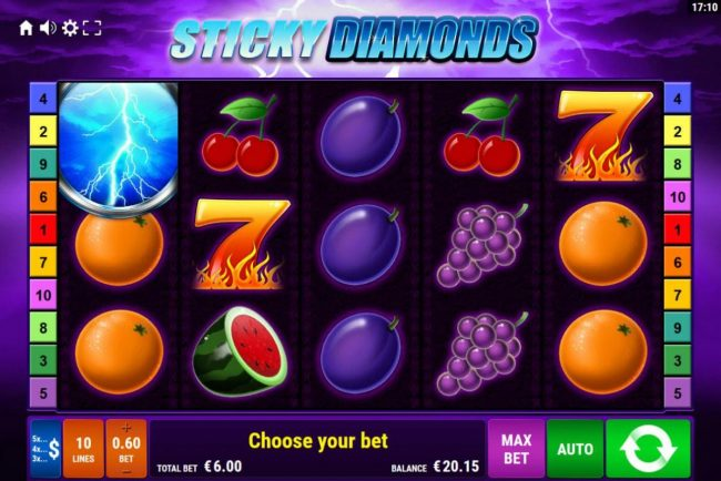 Sticky Diamonds :: Main game board featuring five reels and 10 paylines with a $1,200 max payout.