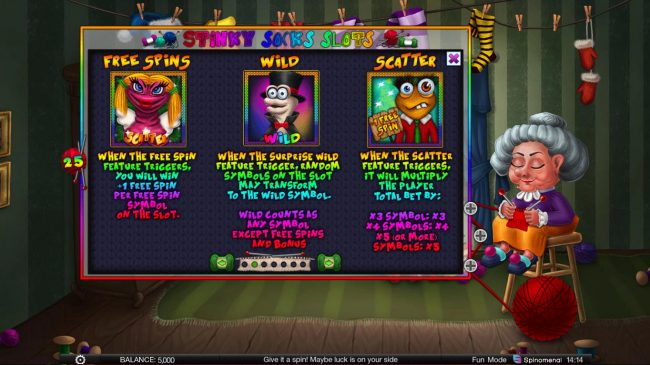 Stinky Socks Slots :: Wild and Scatter Symbol Rules