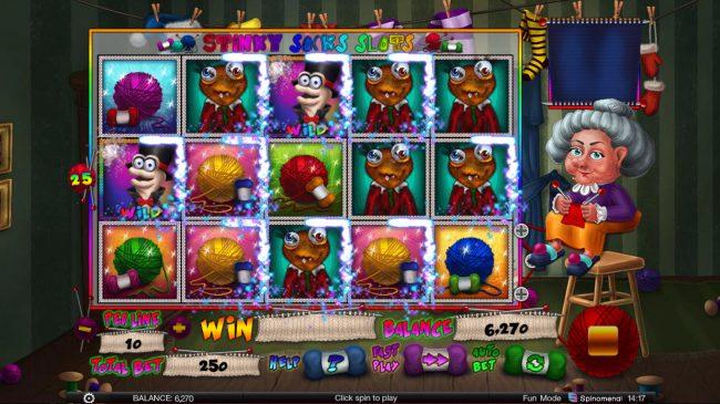 Stinky Socks Slots :: Multiple winning paylines triggers a big win