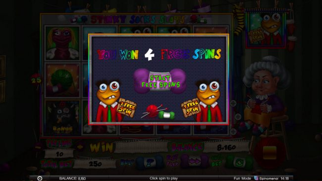 Stinky Socks Slots :: 4 free spins awarded