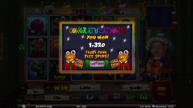 Stinky Socks Slots :: Total Free Spins Payout