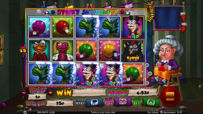 Spintropolis featuring the Video Slots Stinky Socks Slots with a maximum payout of $100,000