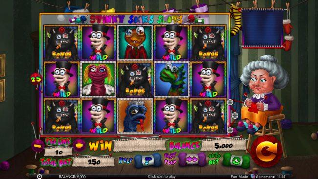 Stinky Socks Slots :: Main Game Board