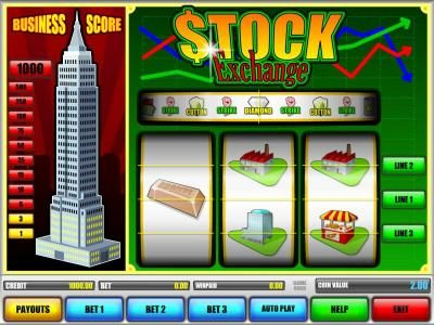 Stock Exchange :: main game board featuring three reels and three paylines