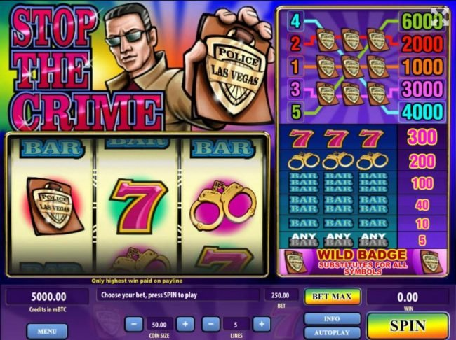 Royale24 featuring the Video Slots Stop the Crime with a maximum payout of $300,000