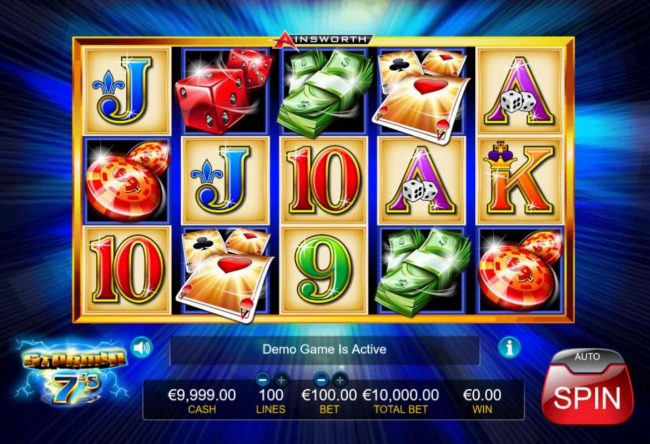 Stormin 7's :: Main game board featuring five reels and 1000 paylines with a $1,000,000 max payout.