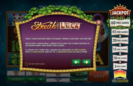 Crown Europe featuring the Video Slots Streak of Luck with a maximum payout of $1,000,000