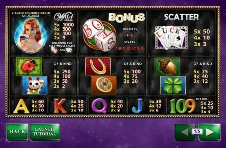 Betfair featuring the Video Slots Streak of Luck with a maximum payout of $1,000,000