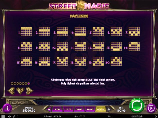 Neder featuring the Video Slots Street Magic with a maximum payout of $500,000