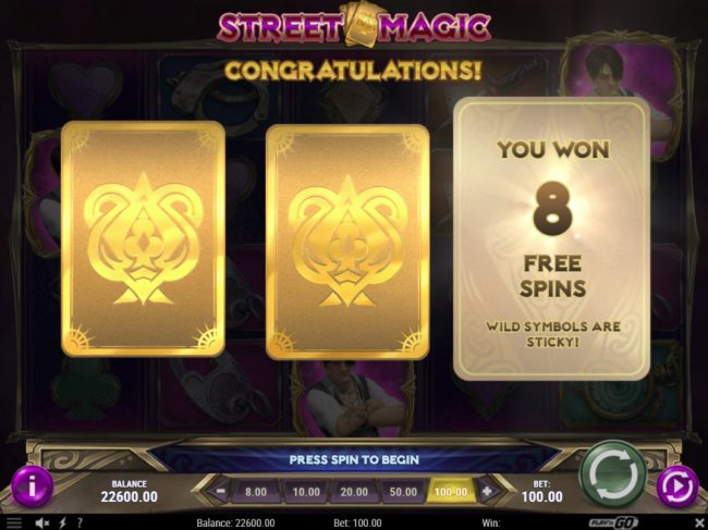 Go Wild featuring the Video Slots Street Magic with a maximum payout of $500,000