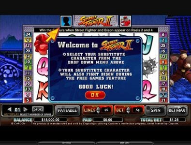 Play slots at Slots Cafe: Slots Cafe featuring the Video Slots Street Fighter II with a maximum payout of $100,000