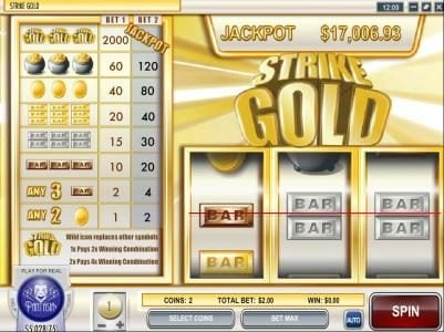 Play slots at Rich: Rich featuring the Video Slots Strike Gold with a maximum payout of $2,000