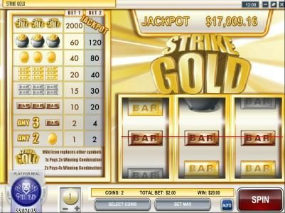 Strike Gold :: 20 coin payout triggered by three bar symbols