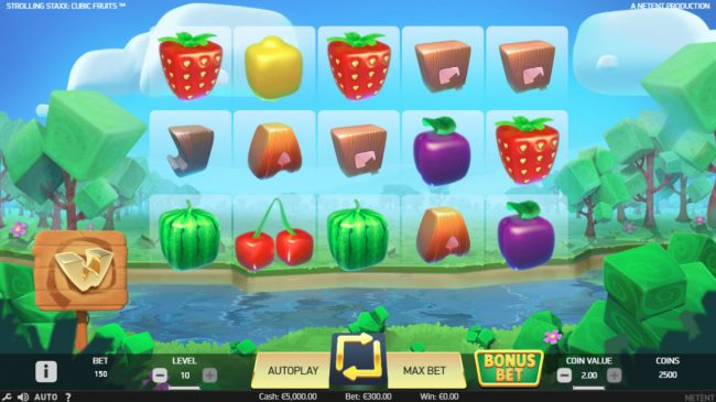 Jellybean Casino featuring the Video Slots Strolling Staxx Cubic Fruits with a maximum payout of $100,000