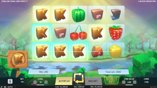 Magik Slots featuring the Video Slots Strolling Staxx Cubic Fruits with a maximum payout of $100,000