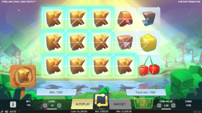 Leo Vegas featuring the Video Slots Strolling Staxx Cubic Fruits with a maximum payout of $100,000