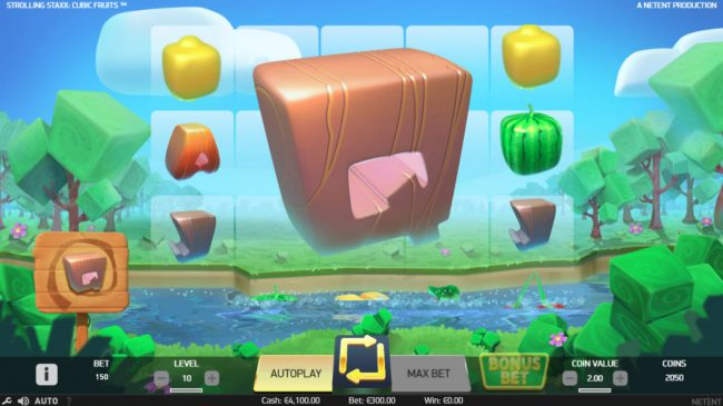 Spinzilla featuring the Video Slots Strolling Staxx Cubic Fruits with a maximum payout of $100,000