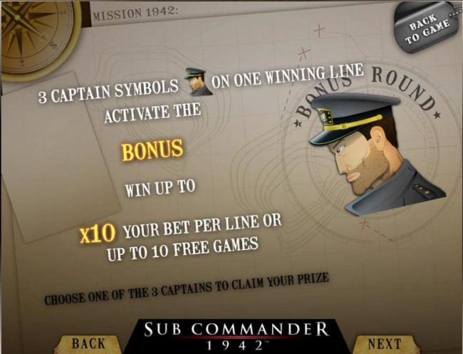 Joe Fortune featuring the Video Slots Sub Commander 1942 with a maximum payout of $30,000