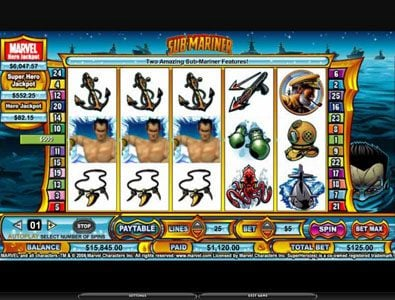 Zinger Spins featuring the video-Slots Sub-Mariner with a maximum payout of 5,000x