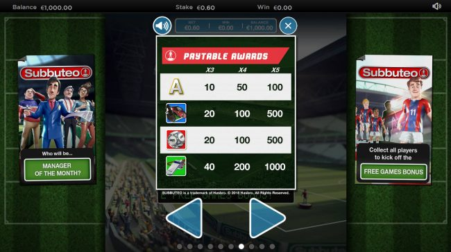 Boo Casino featuring the Video Slots Subbuteo with a maximum payout of $800,000