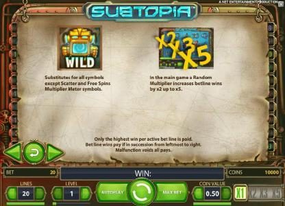 emu Casino featuring the Video Slots Subtopia with a maximum payout of $50,000
