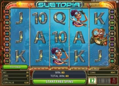 Betting Ways featuring the Video Slots Subtopia with a maximum payout of $50,000