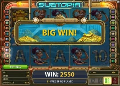 CKcasino featuring the Video Slots Subtopia with a maximum payout of $50,000