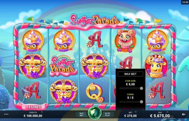 Lucky Me Slots featuring the Video Slots Sugar Parade with a maximum payout of $620,000