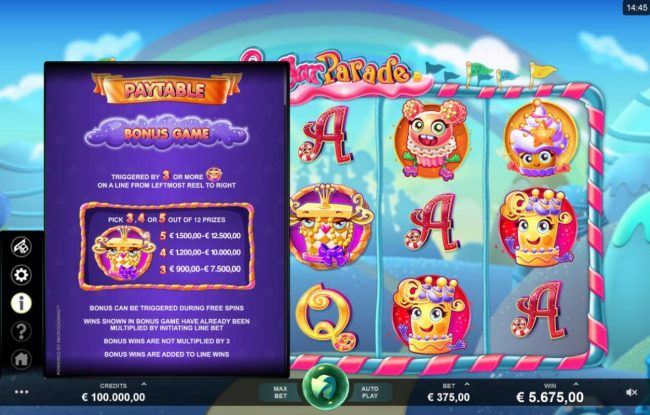 Reel Vegas featuring the Video Slots Sugar Parade with a maximum payout of $620,000