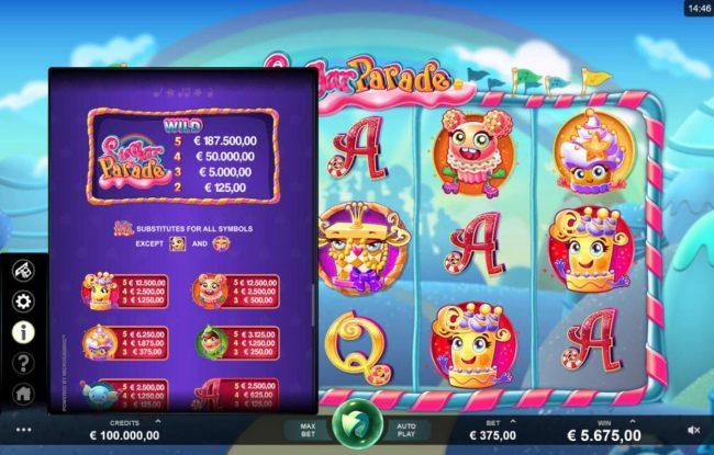 Play slots at Guts: Guts featuring the Video Slots Sugar Parade with a maximum payout of $620,000