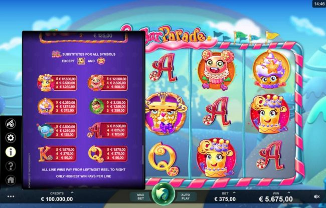Jackpot Paradise featuring the Video Slots Sugar Parade with a maximum payout of $620,000