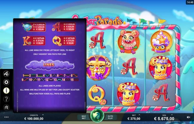 18 Bet featuring the Video Slots Sugar Parade with a maximum payout of $620,000