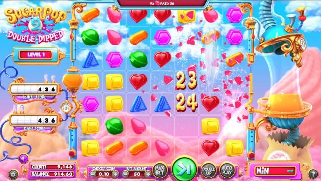 Gossip Slots featuring the Video Slots Sugar Pop 2 Double Dipped with a maximum payout of $28,305