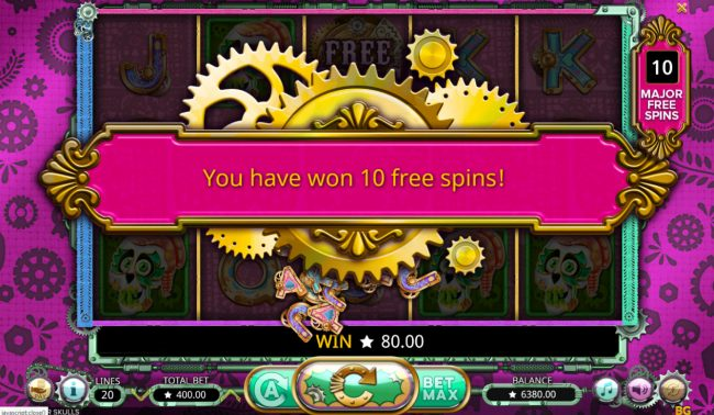 Play slots at Vegas Crest: Vegas Crest featuring the Video Slots Sugar Skulls with a maximum payout of $20,000