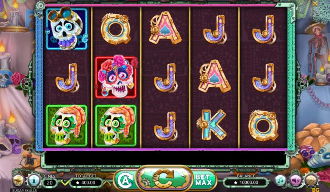 King Billy featuring the Video Slots Sugar Skulls with a maximum payout of $20,000