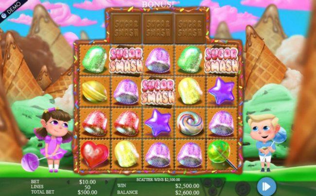 Play slots at CKcasino: CKcasino featuring the Video Slots Sugar Smash with a maximum payout of $375,000