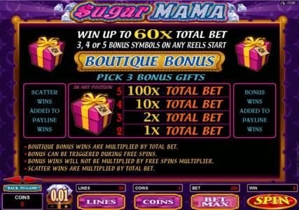 777Dragon featuring the Video Slots Sugar Mama with a maximum payout of $15,000